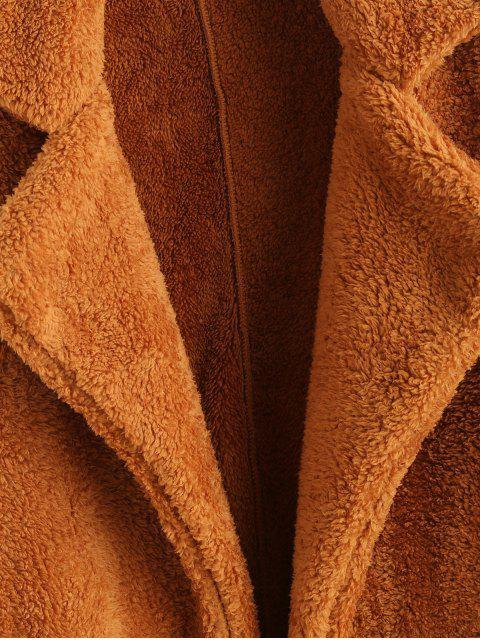 Manteau Teddy Simple Fourré en Fausse Fourrure à Col Revers - Brun Légère S Mobile