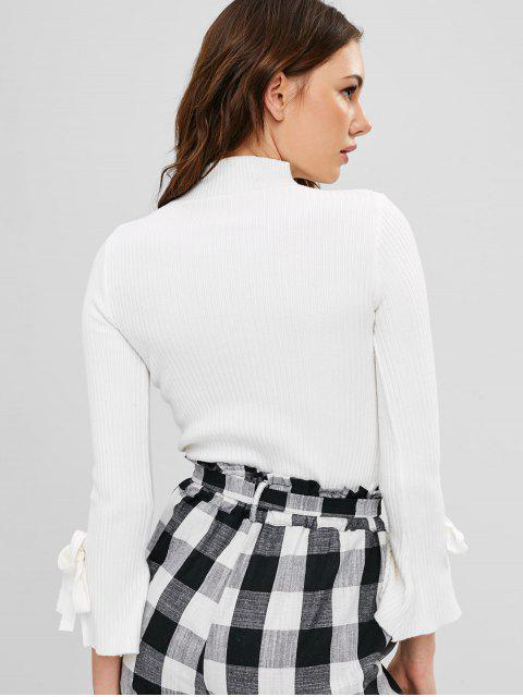 outfit Ribbed Bell Cuffs Sweater - WHITE ONE SIZE Mobile
