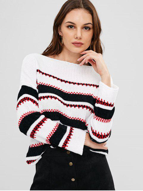 outfit Drop Shoulder Striped Velvet Sweater - WHITE ONE SIZE Mobile