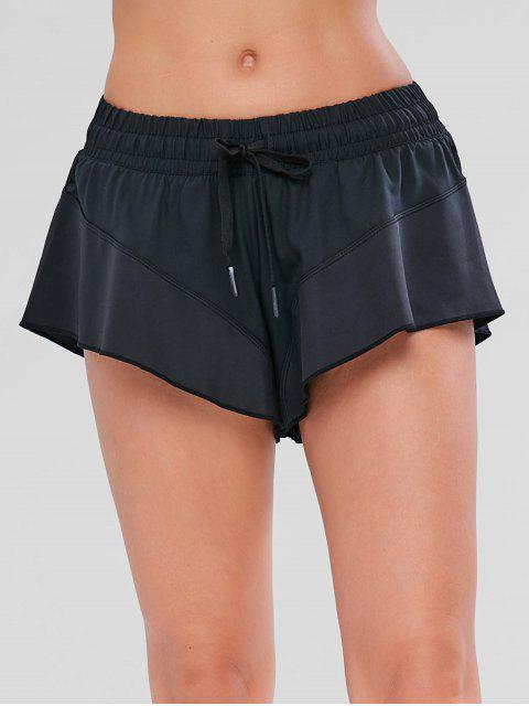 women's Drawstring Overlay Sport Shorts - BLACK S Mobile