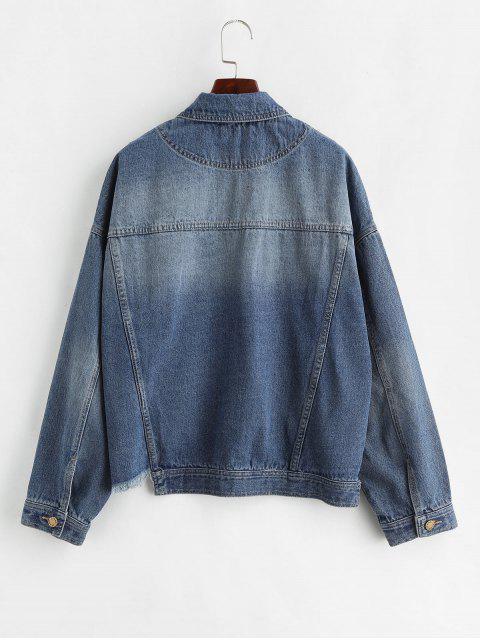 outfit ZAFUL Frayed Hem Pockt Denim Shirt Jacket - DENIM DARK BLUE L Mobile