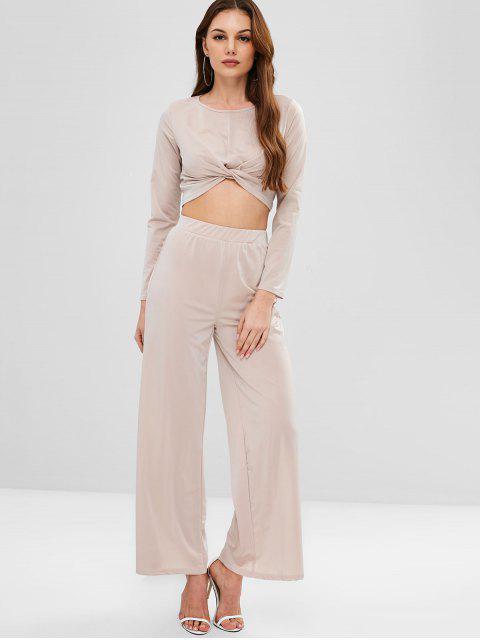 hot ZAFUL Twisted Tee and Wide Leg Pants Set - LIGHT KHAKI L Mobile