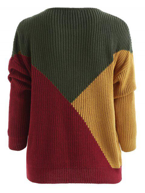 shop Color Block Tricolor Oversized Sweater - ARMY GREEN M Mobile