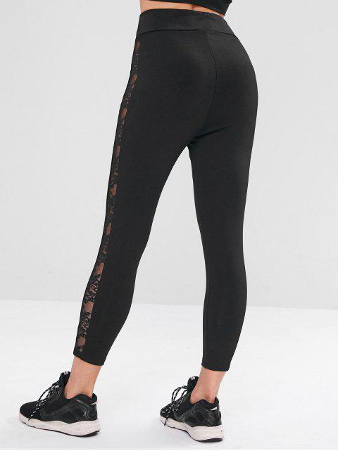 Panel de encaje sin costuras ZAFUL Leggings deportivos - Negro S Mobile