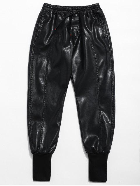 Pantalon de jogging en cuir PU à taille élastique - Noir L Mobile
