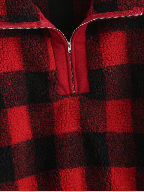 best Half Zip Plaid Faux Fur Sweatshirt - RED M Mobile
