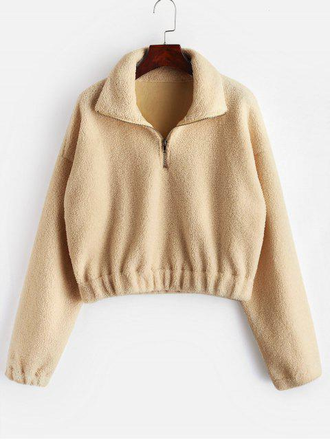 unique Half Zip Plain Faux Fur Sweatshirt - TAN M Mobile