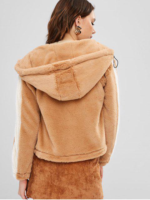 ZAFUL Manteau à Capuche Zippé en Fausse Fourrure - Brun Légère M Mobile