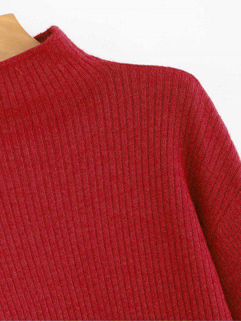 sale Lantern Sleeve Mock Neck Plain Sweater - LAVA RED ONE SIZE Mobile