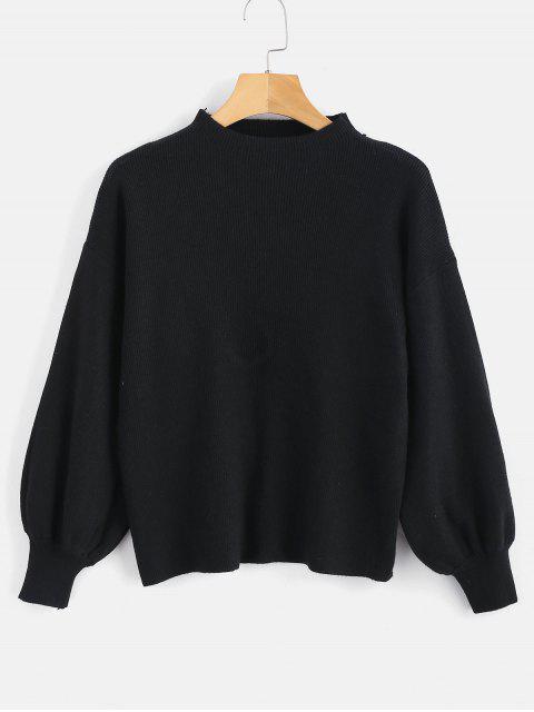 Tropfen Schulter Plain Lantern Sleeve Pullover - Schwarz Eine Größe Mobile