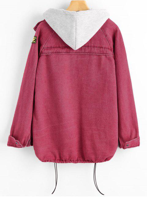 lady Button Up Denim Jacket and Hooded Vest - CHERRY RED L Mobile