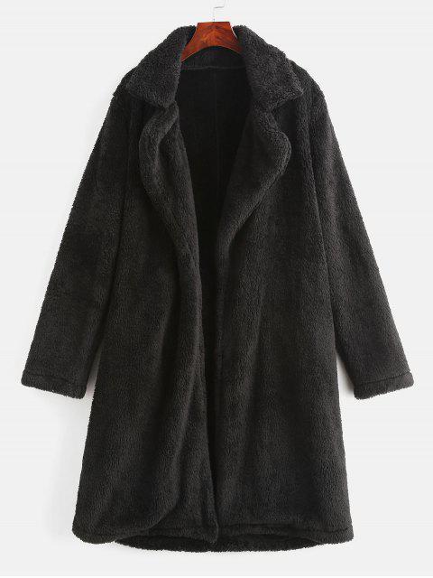 Manteau Teddy Simple Fourré en Fausse Fourrure à Col Revers - Noir S Mobile