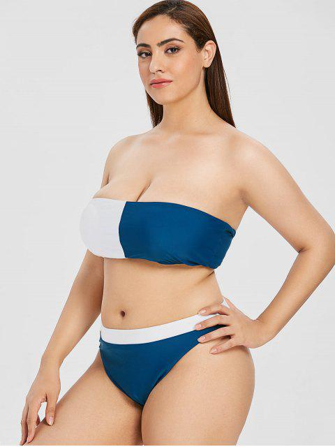 ladies ZAFUL Plus Size Two Tone Bandeau Bikini - MULTI L Mobile