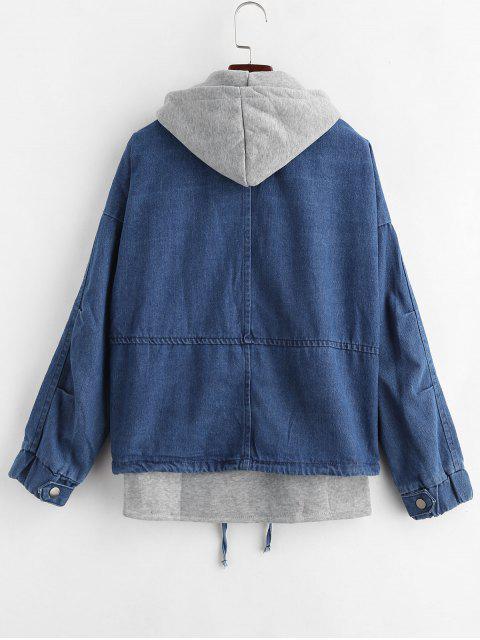 fashion Hooded Waistcoat and Denim Jacket Set - DENIM DARK BLUE XL Mobile