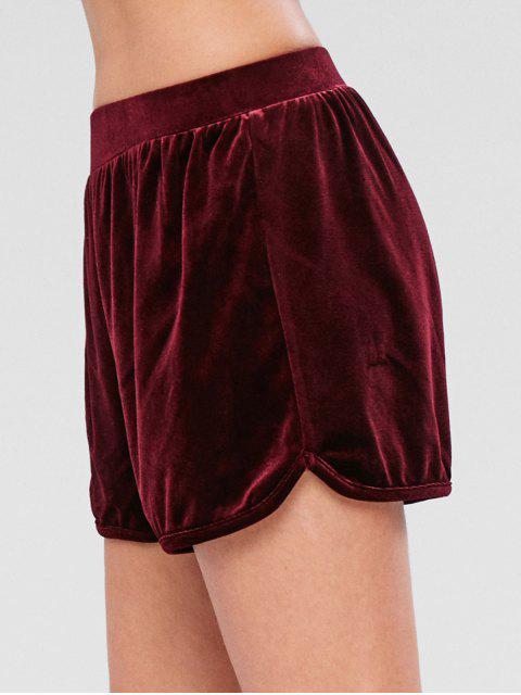 affordable ZAFUL Velvet High Rise Shorts - RED WINE S Mobile