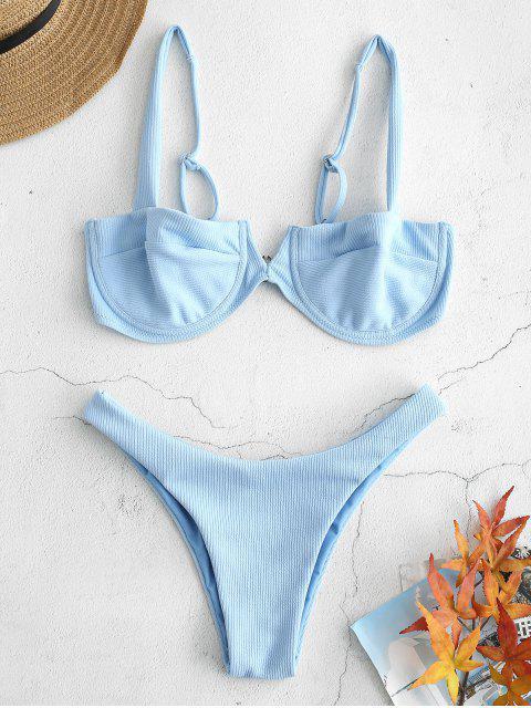 Bikini à armatures en maille côtelée - Bleu Léger  L Mobile