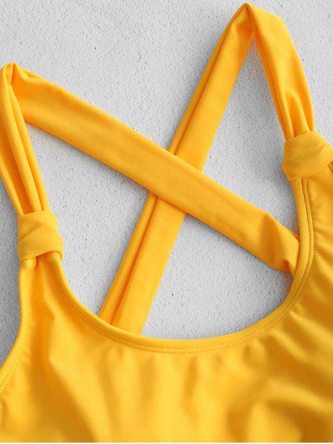 Traje de baño cruzado sin espalda de corte alto ZAFUL - Caucho Ducky Amarillo L Mobile