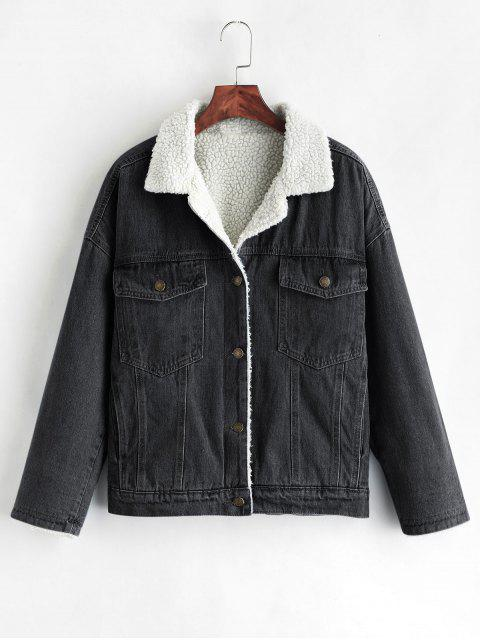 fancy Drop Shoulder Fleece Denim Jacket - BLACK L Mobile