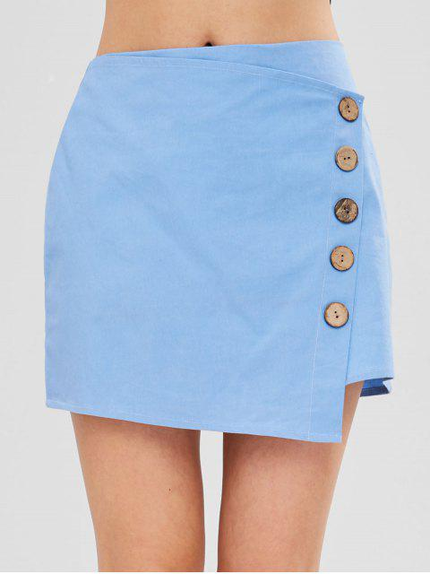 lady ZAFUL Buttons Embellished Asymmetric Skirt - LIGHT BLUE M Mobile