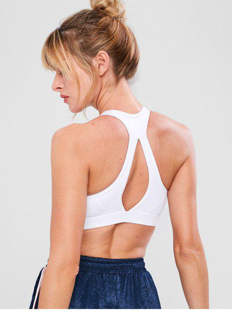 women's Zip Front Cutout Workout Bra - WHITE M Mobile