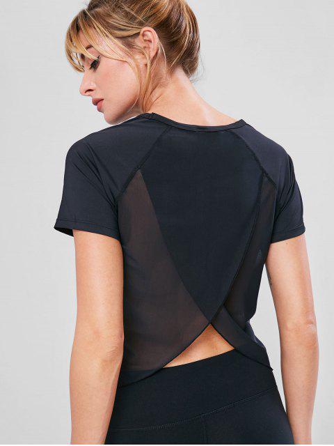 Tulpe-Rücken-T-Shirt mit Mesh-Einsatz - Schwarz M Mobile