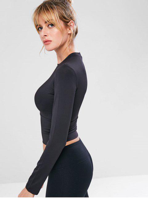 T-shirt Maigre de Sport de Gymnastique de Yoga - Noir M Mobile