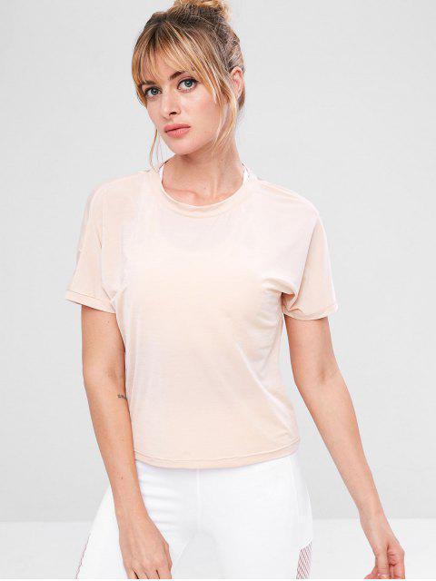 ZAFUL T-shirt de Gymnastique Superposé Sans Dos - Abricot S Mobile