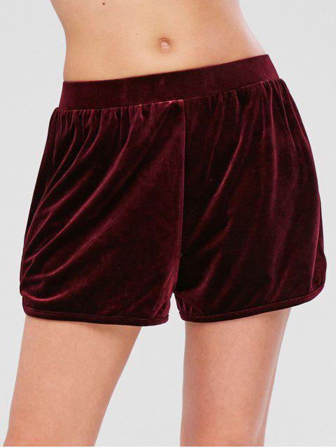 ZAFUL - Samt-Shorts mit hohem Bund - Roter Wein M Mobile