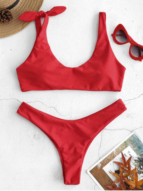 womens ZAFUL Knot Low Cut Bikini Set - LAVA RED L Mobile