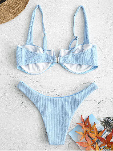unique Ribbed Knit Underwire Bikini - LIGHT BLUE L Mobile