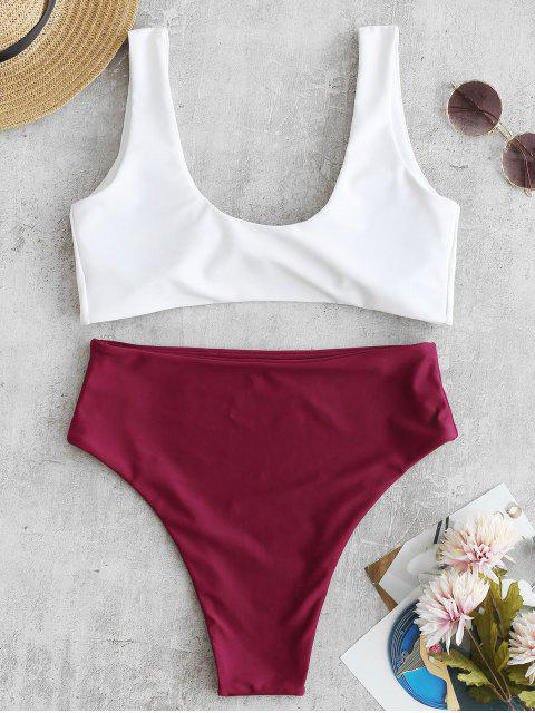 chic Two Tone High Cut Knotted Bikini Set - RED WINE S Mobile