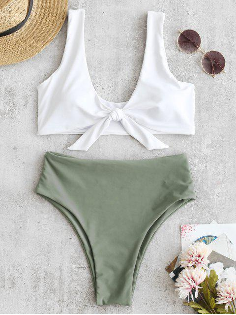 fancy Two Tone High Cut Knotted Bikini Set - CAMOUFLAGE GREEN M Mobile