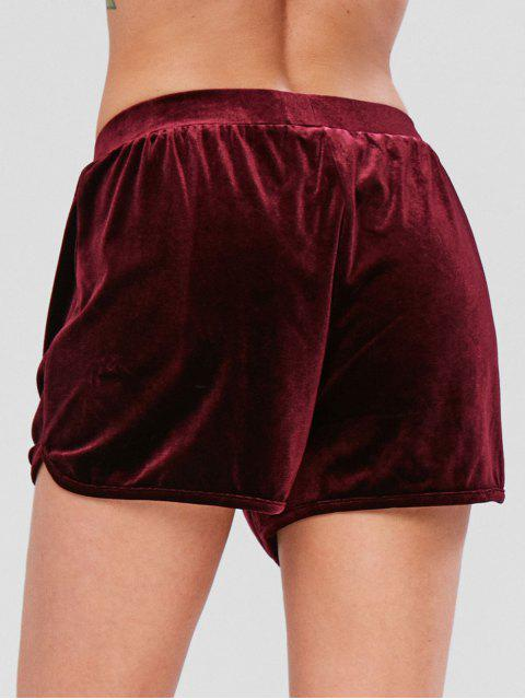affordable ZAFUL Velvet High Rise Shorts - RED WINE S Mobile
