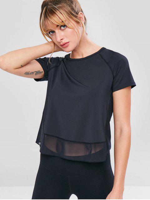 Camiseta de malla con espalda de tulipán - Negro S Mobile