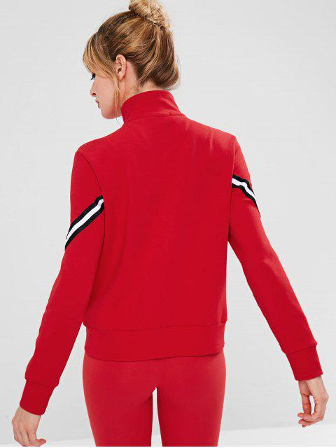 outfits ZAFUL Striped Zipper Pocket Jacket - RED S Mobile