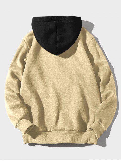 latest Color-blocking Letter Patch Detail Pouch Pocket Fleece Hoodie - LIGHT KHAKI XS Mobile