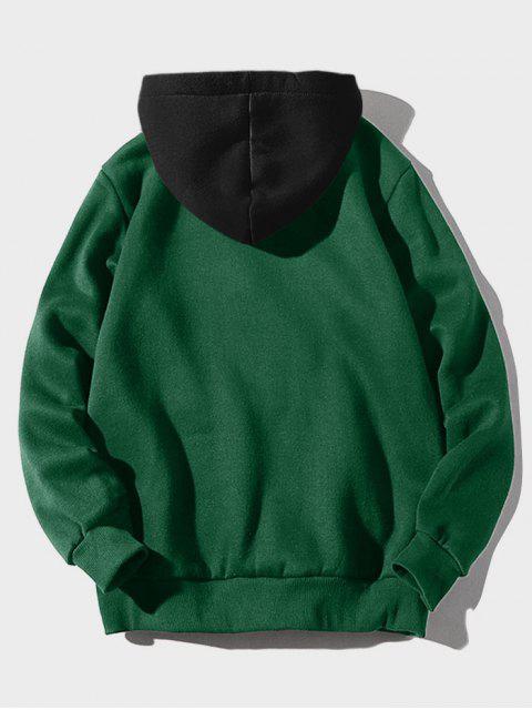 women Color-blocking Letter Patch Detail Pouch Pocket Fleece Hoodie - MEDIUM SEA GREEN XS Mobile