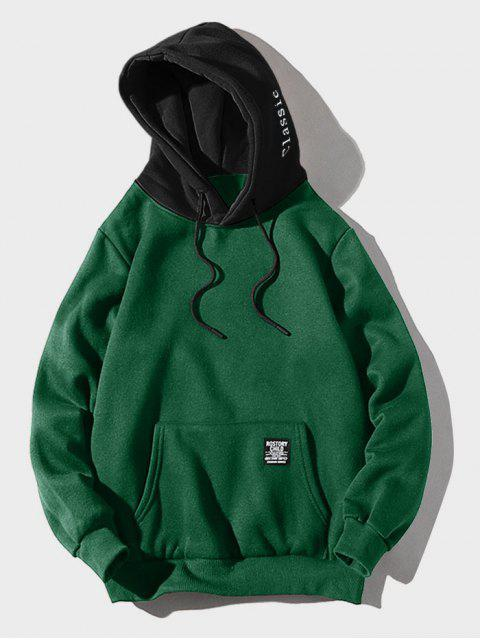 ladies Color-blocking Letter Patch Detail Pouch Pocket Fleece Hoodie - MEDIUM SEA GREEN M Mobile