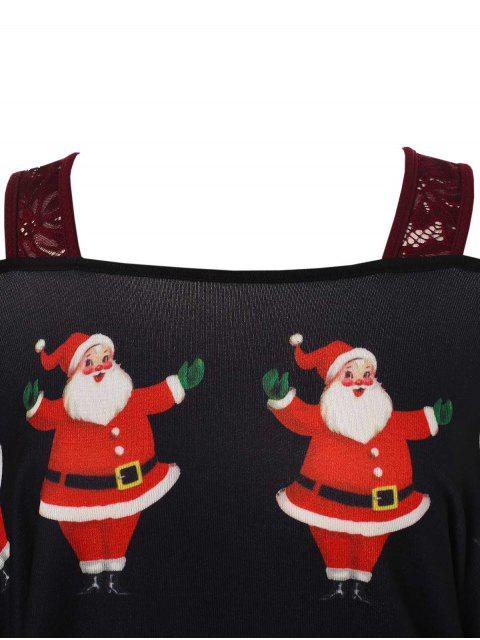sale Plus Size Christmas Santa Claus Print Asymmetrical T-shirt - BLACK 4X Mobile