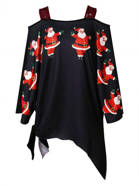 Plus Size Christmas Santa Claus Print Asymmetrical T-shirt - 黑色 1X Mobile