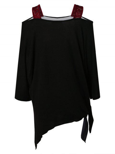 Plus Size Christmas Santa Claus Print Asymmetrical T-shirt - 黑色 L Mobile