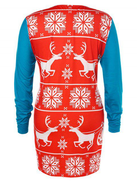 best Plus Size Christmas Printed T-shirt - MULTI 5X Mobile
