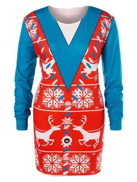 new Plus Size Christmas Printed T-shirt - MULTI 4X Mobile
