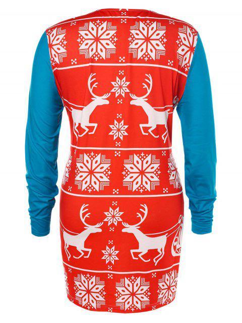 shop Plus Size Christmas Printed T-shirt - MULTI 2X Mobile