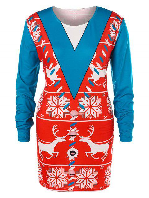 fashion Plus Size Christmas Printed T-shirt - MULTI L Mobile