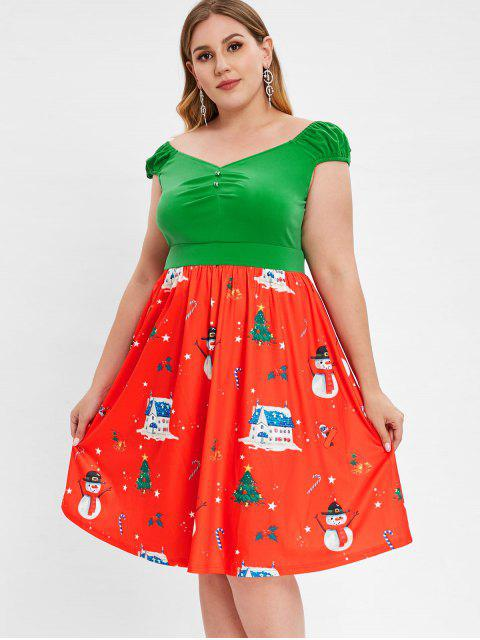 Plus Size Cap Sleeve Christmas Print Vintage Dress - 紅 2X Mobile