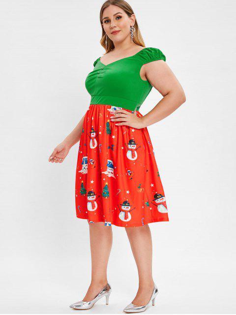 Plus Size Cap Sleeve Christmas Print Vintage Dress - 紅 L Mobile