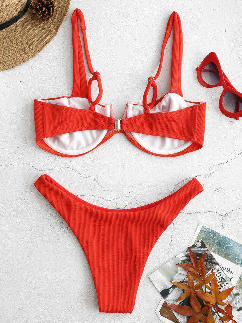 latest Ribbed Knit Underwire Bikini - BRIGHT ORANGE S Mobile