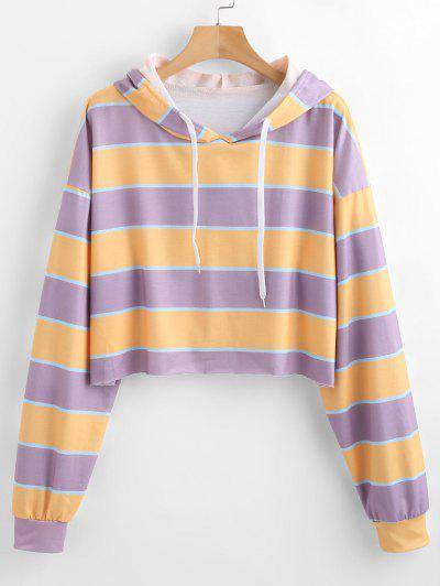 Striped Oversized Hoodie - Lilac M
