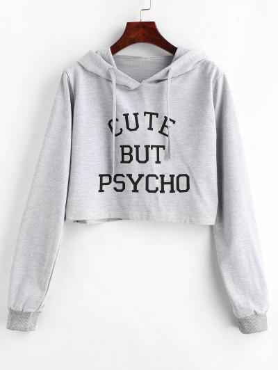 Letter Graphic Pattern Crop Hoodie - Light Gray M